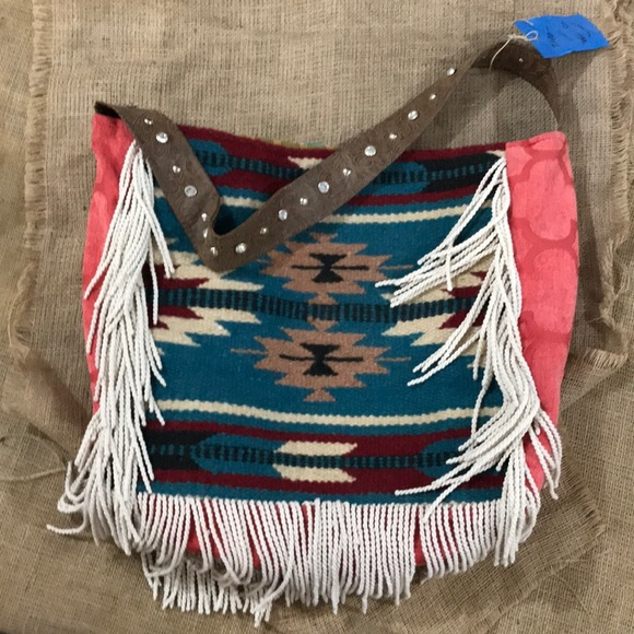 05c7f42f423f Keep it Gypsy serape blanket fringed tote bag BOHO